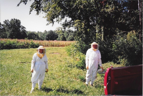 Carl and I tending bees